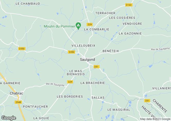Map for Poitou-Charentes, Charente, Saulgond