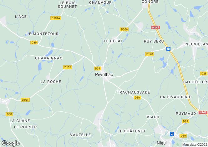 Map for peyrilhac, Haute-Vienne, France