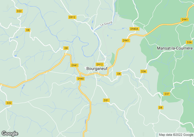 Map for Secteur: Bourganeuf, Creuse
