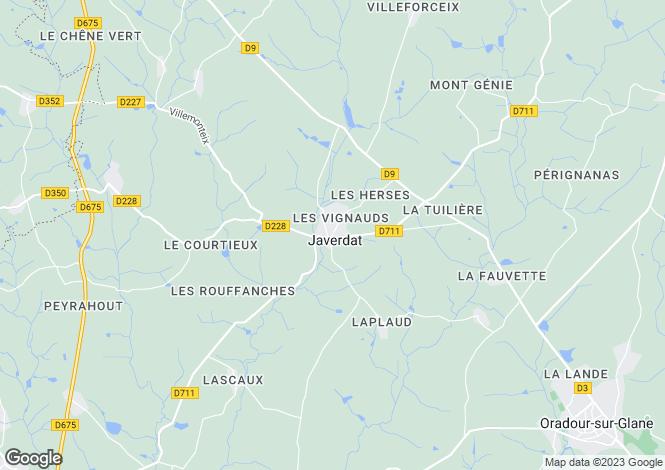 Map for Limousin, Haute-Vienne, Javerdat