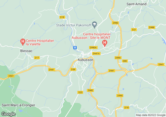 Map for Aubusson, Creuse, Limousin