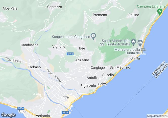 Map for Piedmont, Verbano-Cusio-Ossola, Arizzano