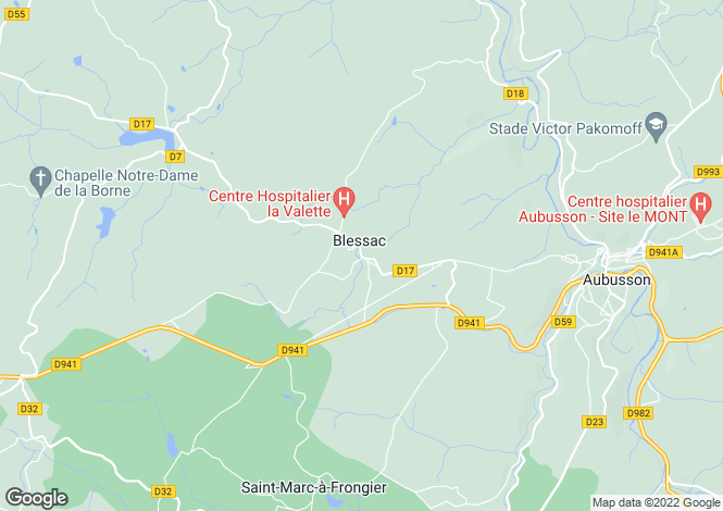 Map for Blessac, Creuse, Limousin