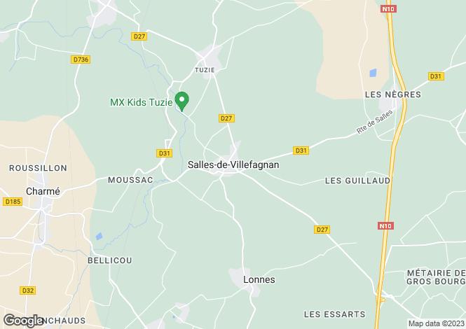 Map for Salles de Villefagnan, Charente, 16700, France