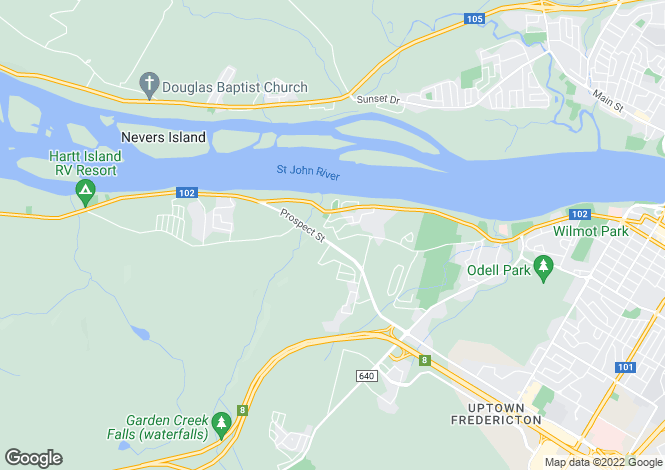Map for Fredericton, New Brunswick