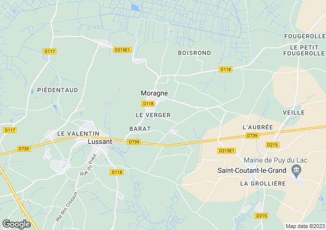 Map for Poitou-Charentes, Charente-Maritime, Moragne