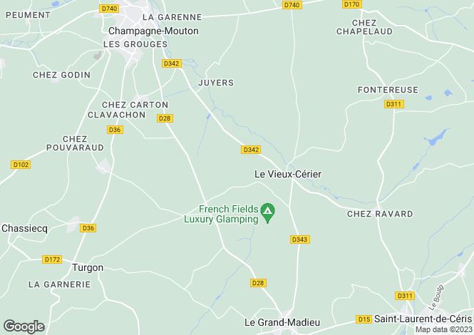 Map for Poitou-Charentes, Charente, Le Vieux-Cérier