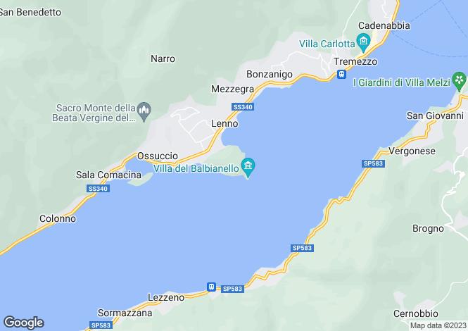 Map for Villa, Tremezzina, Lake Como, Lombardy