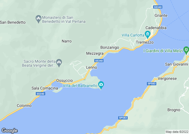 Map for Lenno, Lake Como, Lombardy