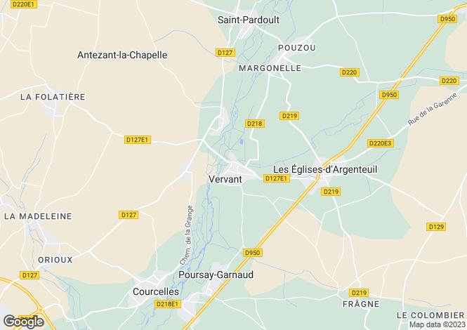 Map for Vervant, Charente-Maritime, Poitou-Charentes