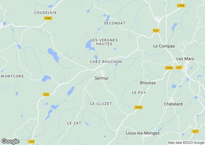 Map for Limousin, Creuse, Sermur