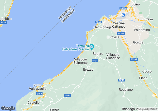 Map for Italy - Lombardy, Varese, Luino