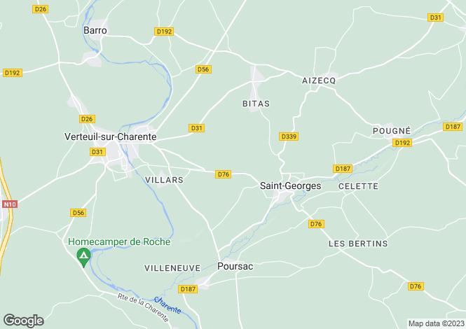 Map for Verteuil-Sur-Charente, Poitou-Charentes, 16510, France