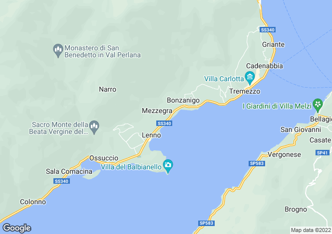 Map for Mezzegra, Lake Como, Lombardy