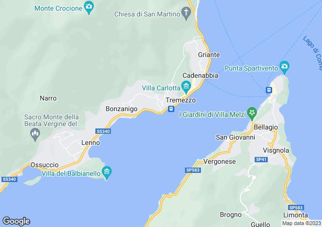 Map for Italy - Lombardy, Como, Tremezzo