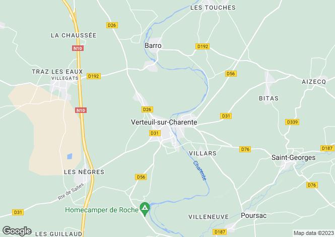 Map for Poitou-Charentes, Charente, Verteuil-sur-Charente