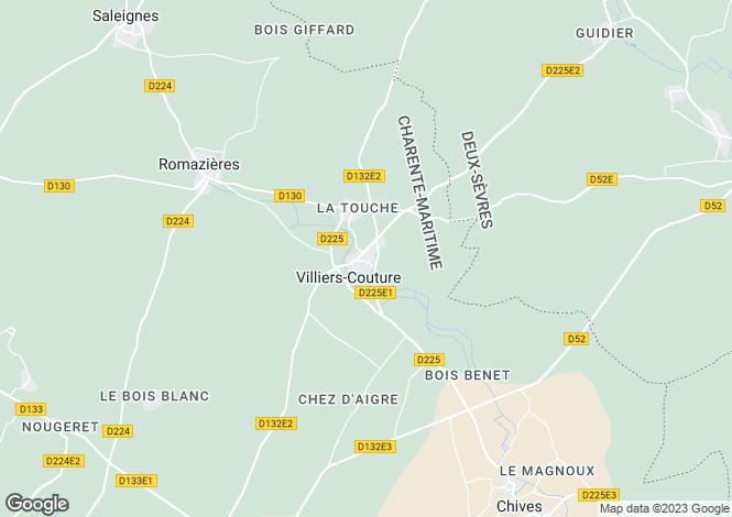 Map for Poitou-Charentes, Charente-Maritime, Villiers-Couture