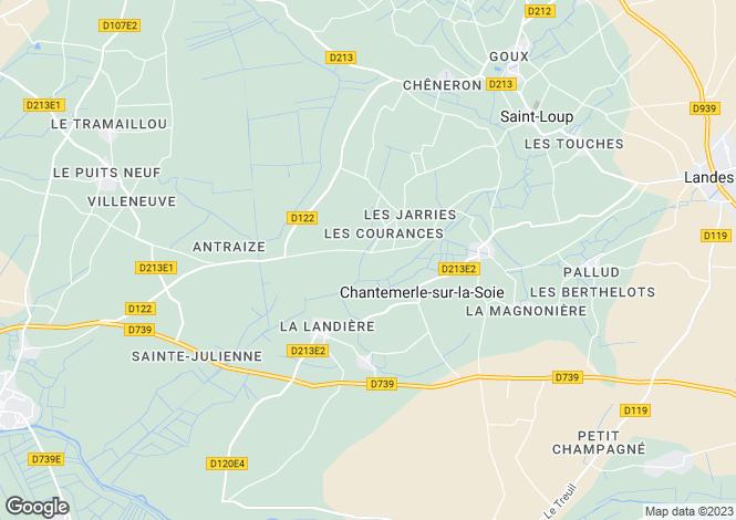 Map for Poitou-Charentes, Charente-Maritime, Chantemerle-sur-la-Soie