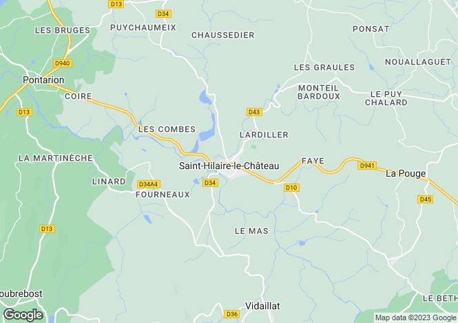 Map for Limousin, Creuse, St-Hilaire-le-Château
