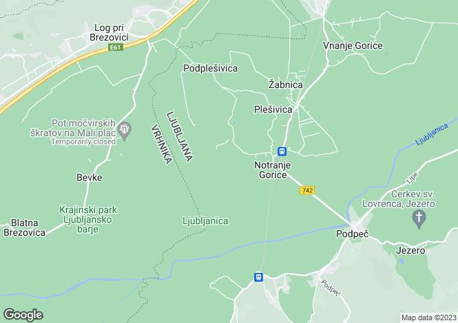 Map for Notranje Gorice, Ljubljana Vic Rudnik