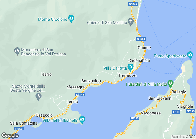 Map for Lombardy, Como, Tremezzo