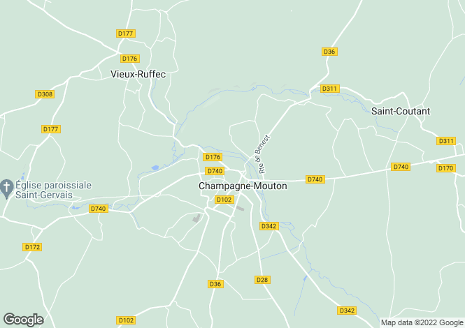 Map for champagne-mouton, Charente, France