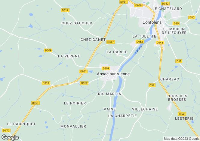 Map for Poitou-Charentes, Charente, Ansac-sur-Vienne