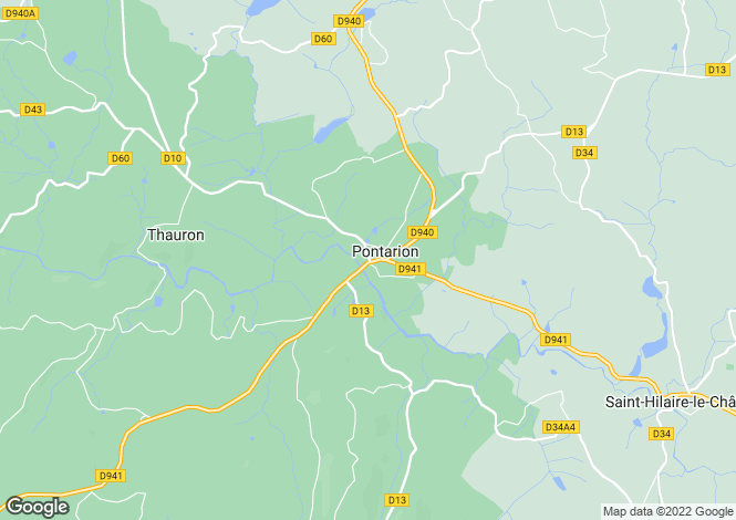 Map for Pontarion, Creuse, Limousin