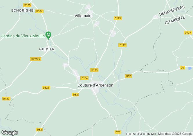 Map for Poitou-Charentes, Deux-Sèvres, Couture-d`Argenson