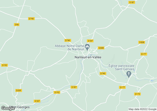 Map for nanteuil-en-vallee, Charente, France