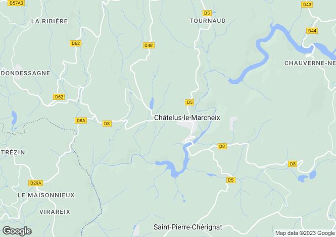 Map for chatelus-le-marcheix, Creuse, France