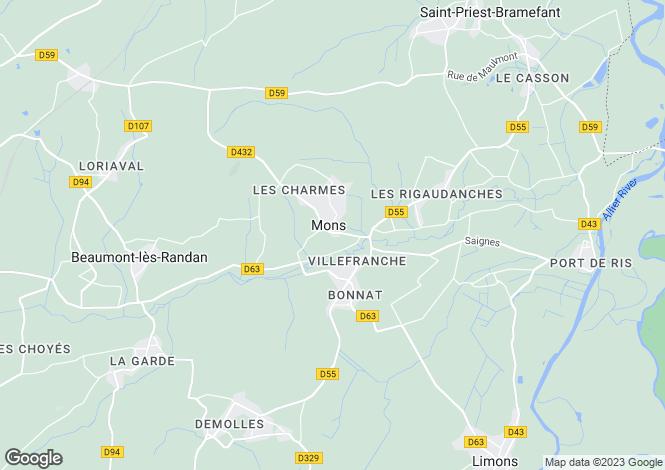 Map for Auvergne, Puy-de-Dôme, Mons