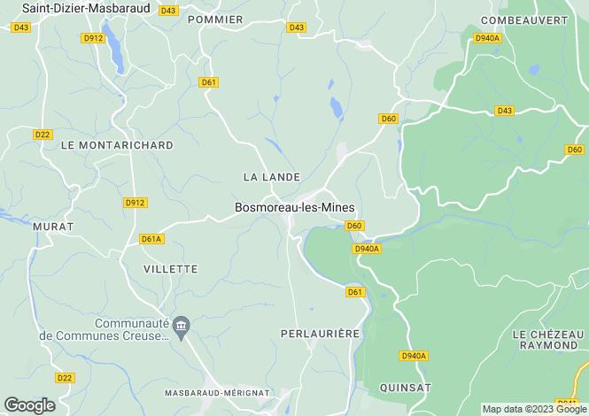 Map for bosmoreau-les-mines, Creuse, France