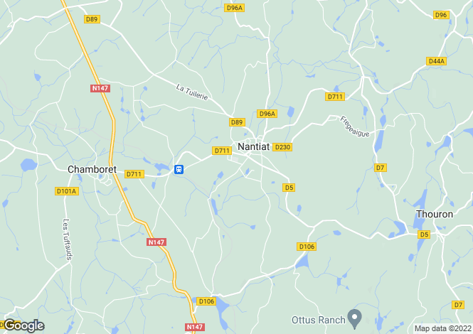 Map for nantiat, Haute-Vienne, France