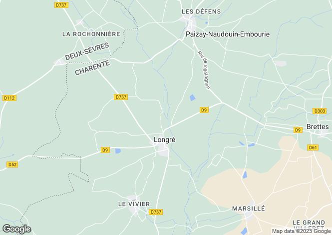 Map for Poitou-Charentes, Charente, Longré
