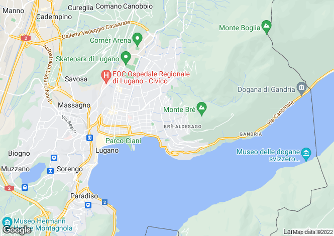 Map for Ticino, Lugano