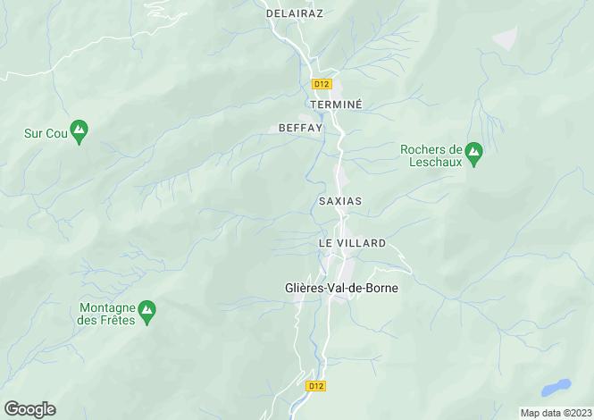 Map for Rhone Alps, Haute-Savoie, Le Petit-Bornand-les-Glières