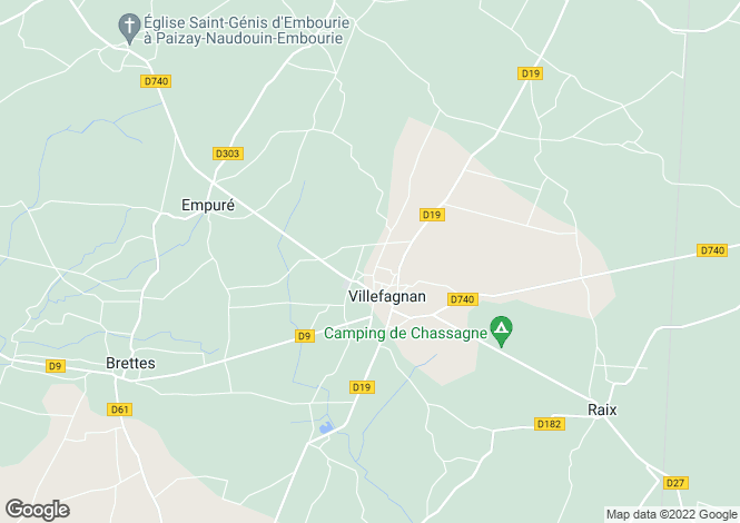 Map for villefagnan, Charente, France