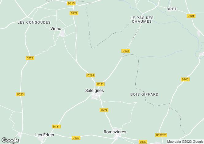 Map for Poitou-Charentes, Charente-Maritime, Saleignes