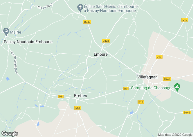 Map for empure, Charente, France