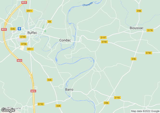 Map for condac, Charente, France