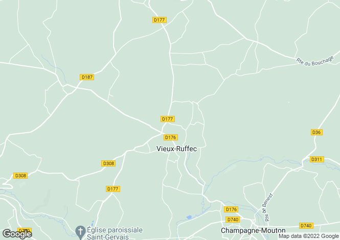 Map for Poitou-Charentes, Charente, Vieux-Ruffec