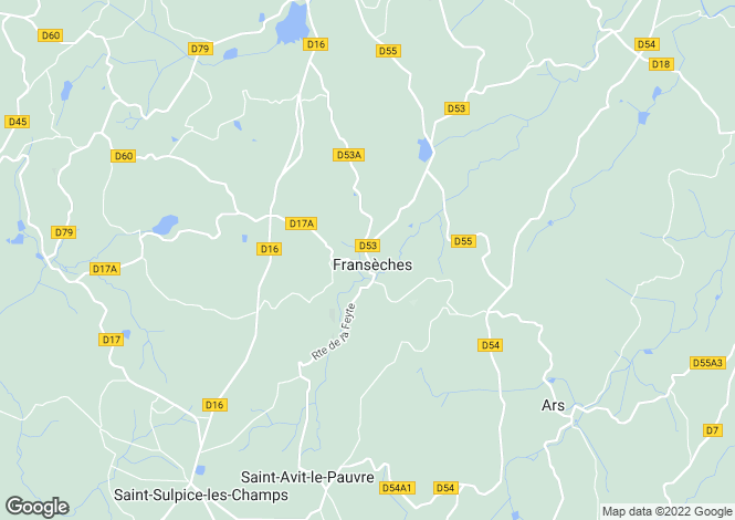 Map for franseches, Creuse, France