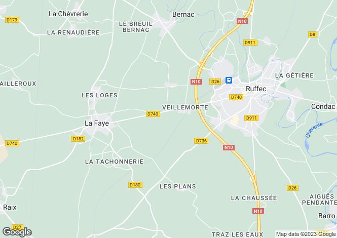 Map for Ruffec, Poitou-Charentes, 16700, France
