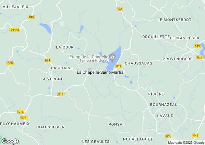 Map for La Chapelle-St-Martial, Creuse, Limousin