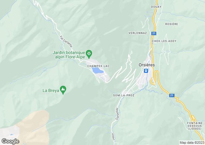Map for Switzerland - Valais, Orsières