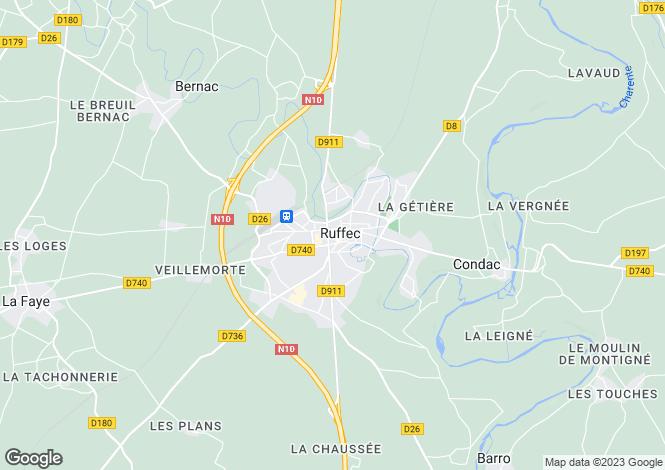 Map for Aigre, Poitou-Charentes, 16140, France