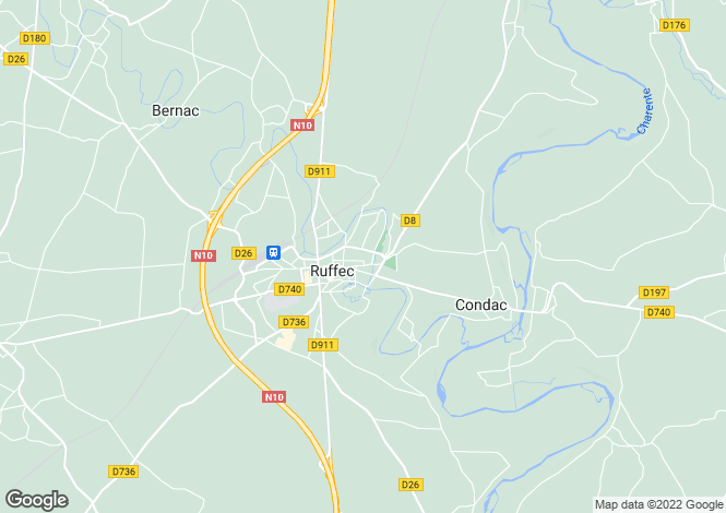 Map for ruffec, Charente, France