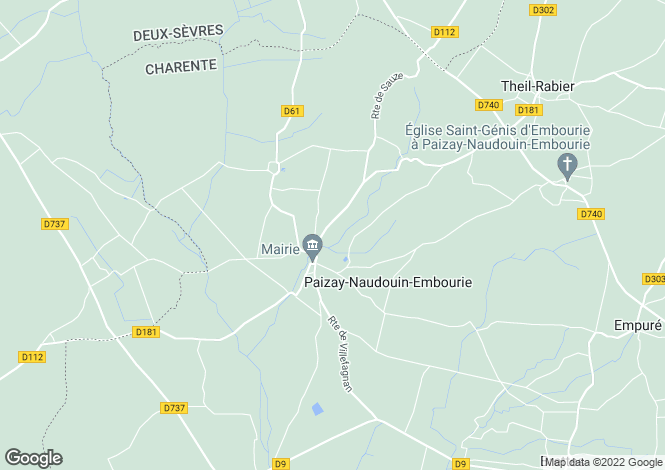Map for paizay-naudouin-embourie, Charente, France