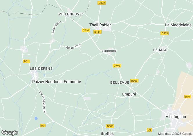 Map for Poitou-Charentes, Charente, Embourie